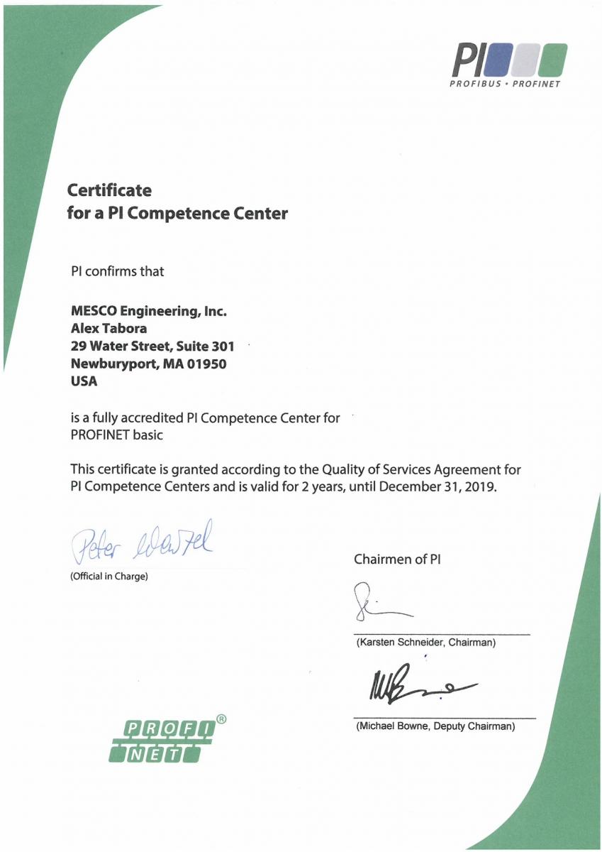 Mesco Is A Profinet Competence Center For North America Mesco
